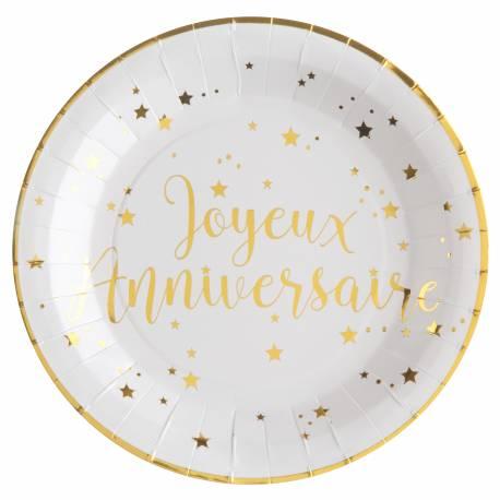 10 Assiettes en carton pour décoration de table Joyeux anniversaire or Dimensions : ø 22.5 cm