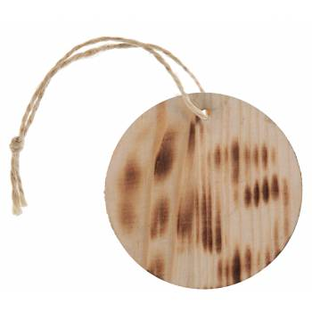 6 Etiquettes ronde en bois brûlé