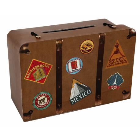 Urne pour mariage en forme de valise idéal pour vos thèmes voyage, globe trotters... Dimensions :24 x 16 x 10 cm