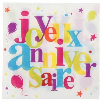 20 Serviettes Joyeux anniversaire multicolore