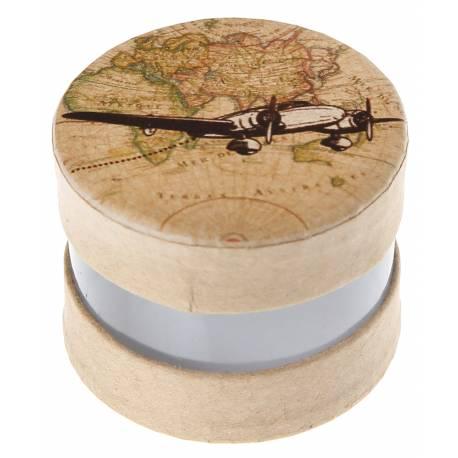 4 boîtes à dragéesà garnir idéal pour vos thèmes voyage, globe trotters... Dimensions :ø4 x 4 cm Peut contenir 5 dragées