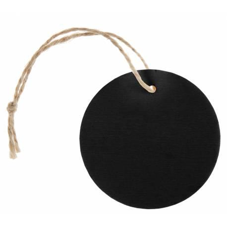 4 Etiquettes ronde en bois de couleur ardoise avec cordon Dimensions : ø 5.5 cm x 16 cm