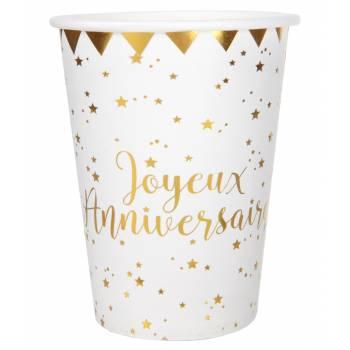 10 Gobelets Joyeux anniversaire or