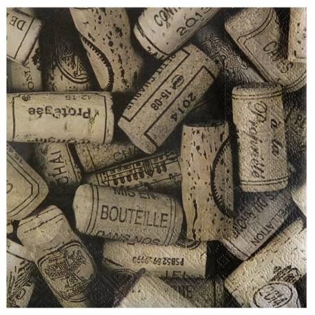 20 Serviettes papierthème vin impression bouchon Dimensions :16.5 x 16.5 cm / 33 x 33 cm