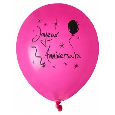 8 Ballons en latex fuchsia impressionJoyeux anniversaire noir Ø 23 cm Parfait pour la deco de votre fête ou anniversaire.