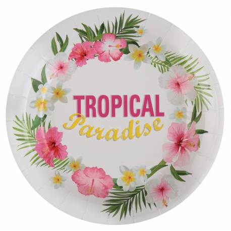 10 Assiettes en carton pour décoration de table Tropical Paradise Dimensions : ø 22.5 cm