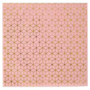 20 Serviettes carreaux de ciment gold rose