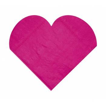 20 Serviettes forme Coeur