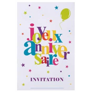 6 Cartes invitation Joyeux anniversaire multicolore
