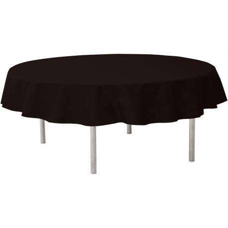 Nappe ronde intissée noire Ø 240 cm idéal pour les tables de Ø 180 cm pour avoir un joli retombé