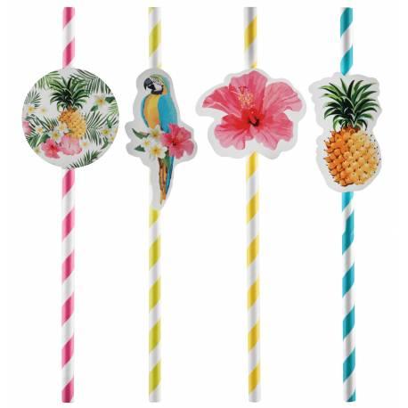 8 Pailles en carton pour décoration de table Tropical Paradise Dimensions :19.2 x 0.6 cm