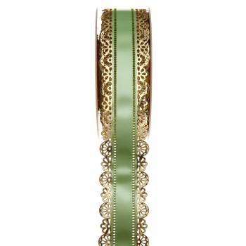 Ruban à charlotte dentelle or vert 40mm