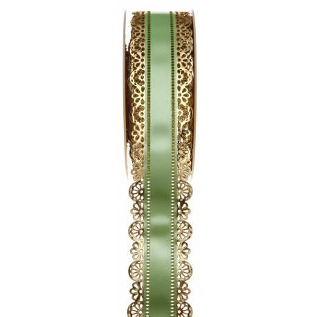Ruban à charlotte dentelle or vert pour le contour de vos gâteaux Matière polypro Dimensions : largeur 40mm x bobine de 20 mètres