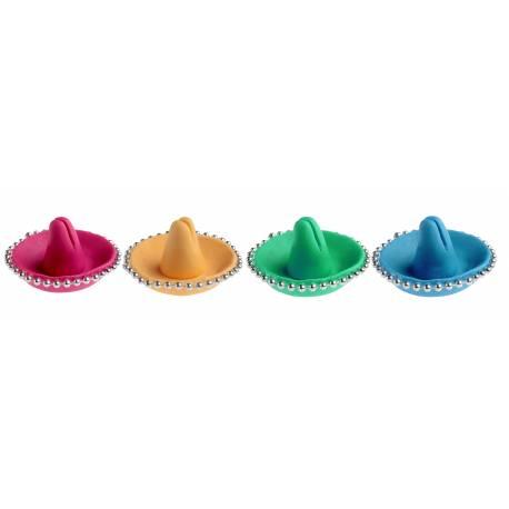 Assortiment de 4 marques place sombrero jaune, vert, bleu et rose pour une décoration de table sur le thème du mexique Matière: fécule...