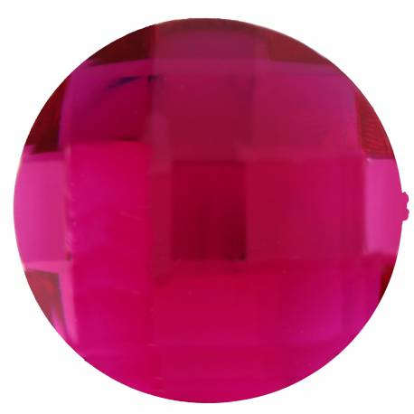 Paquet de 6 diamants ronds fuchsia en plastique pour la deco de table de fête. Ø 3cm