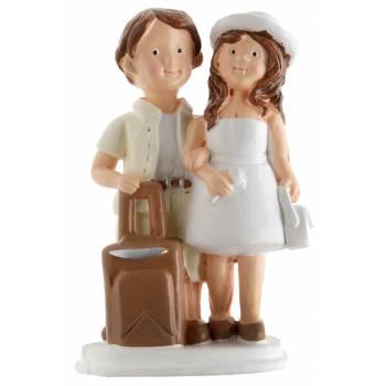 Figurine mariés résine voyageurs