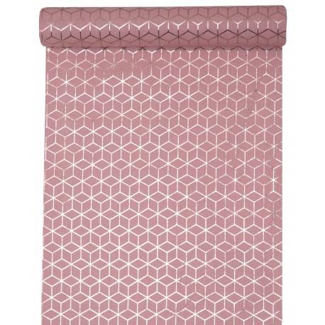 Chemin de table jetable carreaux de ciment rose pour la décoration de vos tables de fête et anniversaire à thème. Dimensions : 30 cm x 3...