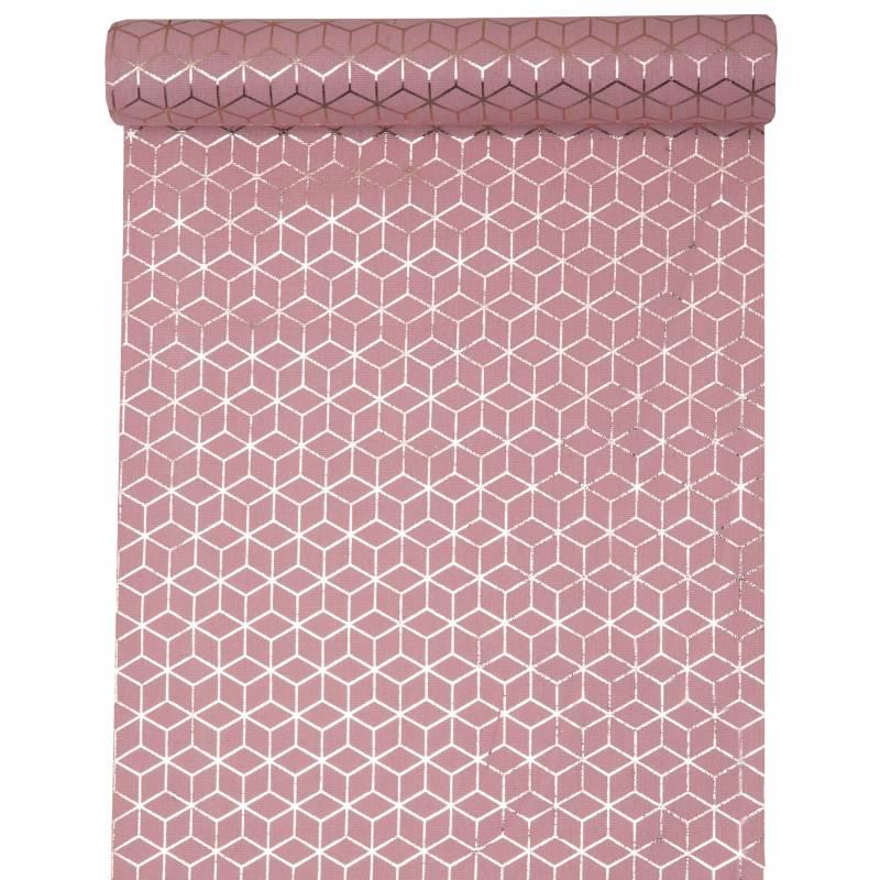 chemin de table jetable carreaux de ciment rose. Black Bedroom Furniture Sets. Home Design Ideas