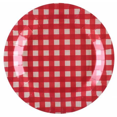 10 Assiettes en carton vichy rouge pour décoration de table de pic nic Dimensions : ø 22.5 cm