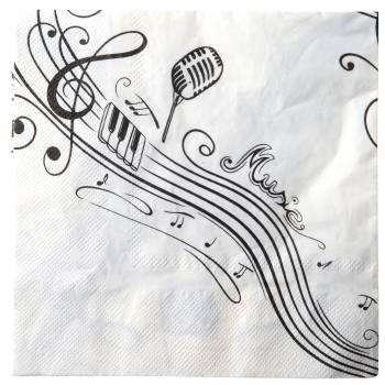 10 Serviettes Note musique