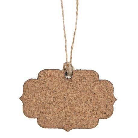 6 Etiquettes vintage en bois de couleur liège avec cordon Dimensions : 6 x 3 x 16 cm