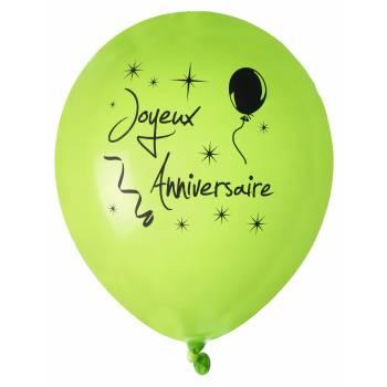 8 Ballons Joyeux anniversaire vert