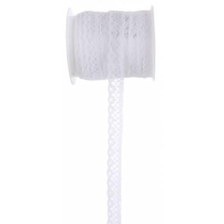 Ruban dentelle blanche Dimensions :Largeur 10 mm x 5 mètres