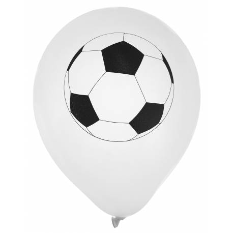 Sachets de 8 ballons latex impression ballon de foot Dimension: Ø23cm