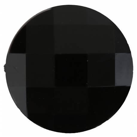 Paquet de 6 diamants ronds noir en plastique pour la deco de table de fête. Ø 3cm