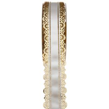 Ruban à charlotte dentelle or blanc 40mm