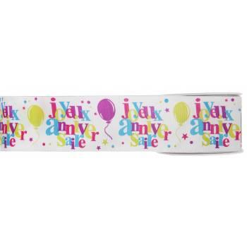 Ruban laitonné Joyeux anniversaire multicolore