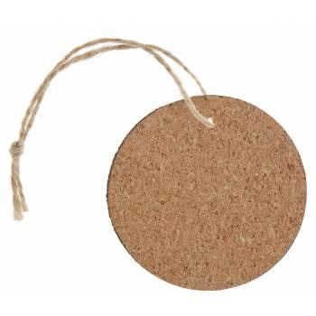 6 Etiquettes ronde en bois liège
