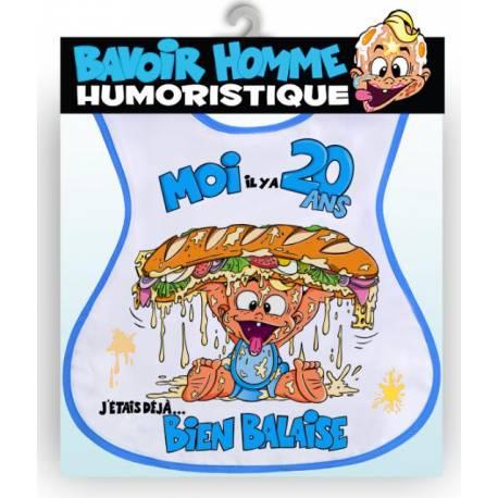 Bavoir humoristiqueadulte bleu Joyeux Anniversaire 20ans
