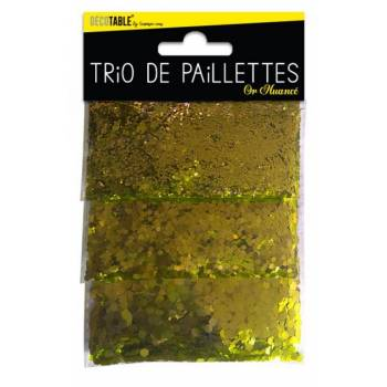Trio de paillettes de table or