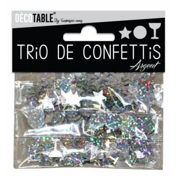 Trio de confettis de table argent
