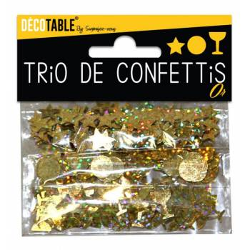 Trio de confettis de table or