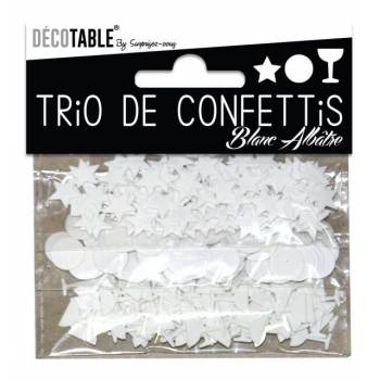Trio de confettis de table blanc