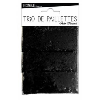 Trio de paillettes de table noire