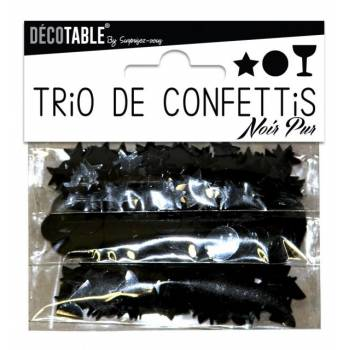 Trio de confettis de table noir
