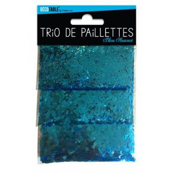 Trio de paillettes de table bleu