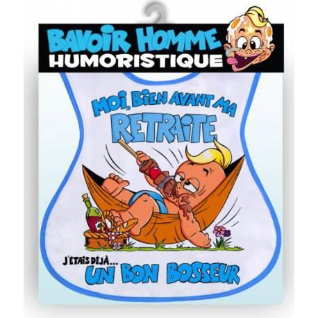Bavoir humoristique adulte Vive la retraite couleur bleu