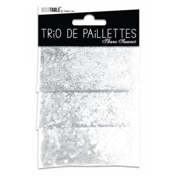Trio de paillettes de table blanche
