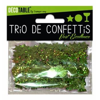 Trio de confettis de table vert