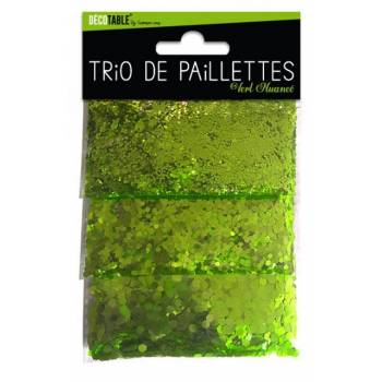 Trio de paillettes de table verte