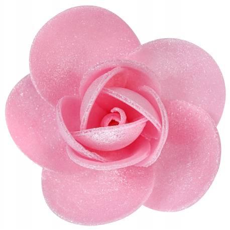 10 Rosesen azyme (papier alimentaire)nacré rose Ces fleurs sont idéales pour décorer vos gâteaux, cupcakes et glace Dimensions : Ø 5.5 cm