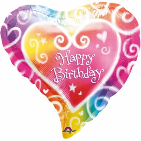 Ballon en aluminium à gonfler avec ou sans hélium à l'aide d'une paille En forme de Coeur color Happy birthday Dimensions : 40 cm