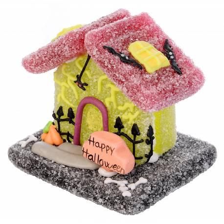 3 Chalets d'Halloween candy gélifiés aux fruits Dimensions :L 6/6,8 cm x H 6/7 cm x P 5 cm