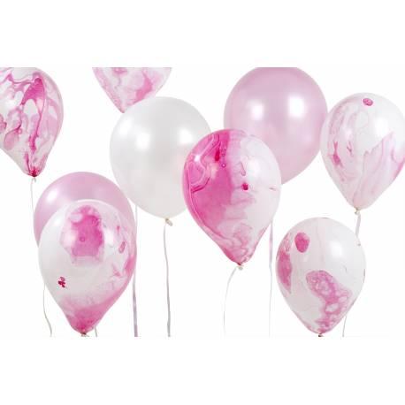 Assortiment de 12 ballons latex marbrés rose Contient: 6 ballons marbrés rose, 3 ballons rose, 3 ballons blanc perle et 20M de rubans