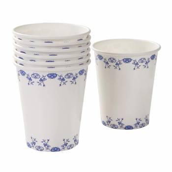 12 Gobelets vintage porcelaine bleu