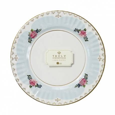 8 superbes grandes assiettes en carton vintage, idéal pour un goûter ou un pic nique dans le jardin ! Dimensions : Ø28 cm